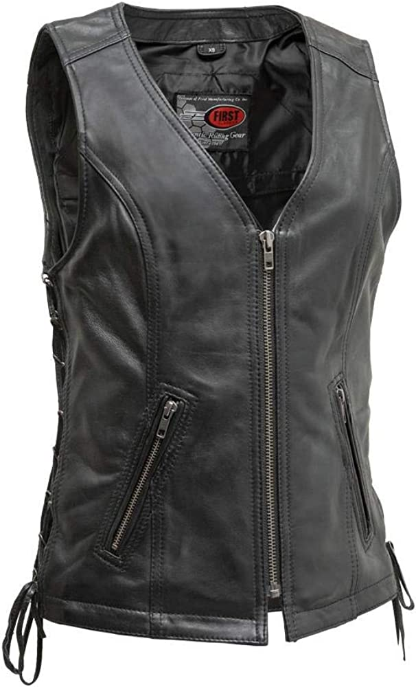 First Max 59% OFF Manufacturing Co - Cindy Women's P Leather Vest Motorcycle High order
