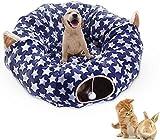 YXZQ Cat Dog Tunnel Bett Spielzeug 2 in 1 Cat Tunnel Abnehmbares Plüschbett Zentralmatte Weiche Cat Tube Schlafbett Warmes Haus Cat Puppy Kitty Outdoor
