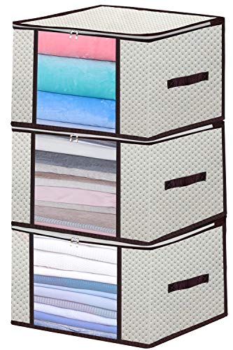 Clothing Storage Bags, Fabric Clothes Organizer Storage Bins Box for Comforters, Blankets, Bedding, Foldable with Sturdy Zipper and Clear Window 3 Pack (Beige)