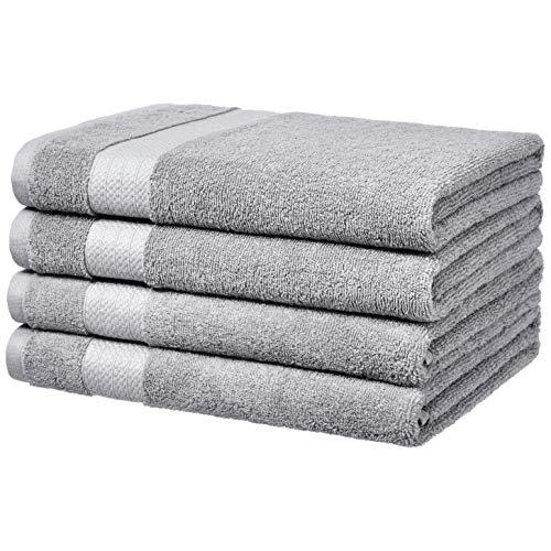 AmazonBasics Performance Bath Towels, Set of 4, Soft Silver