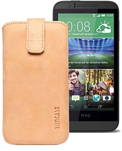 Original Suncase® Etui Tasche für HTC Desire 510 | HTC Desire 526G Dual SIM | ZTE Blade V6 Leder Etui Handytasche Ledertasche Schutzhülle Hülle Hülle *Lasche mit Rückzugfunktion* antik-camel