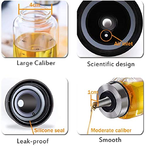 家庭キッチン用ガラスオイルボトルオイルポット醤油ボトル酢ボトルドレッシングボトル漏れ止め防塵300ml