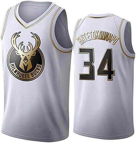 Giannis Antetokounmpo # 34-Milwaukee Camiseta De Baloncesto NBA Camiseta Baloncesto, Camiseta de Baloncesto City Edition Jersey Swingman Bucks, Tela Fresca y Transpirable(Size:/L,Color:G6)