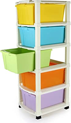 Jenelle 5 Layer Plastic Modular Drawer System Large Multipurpose Organizer for Home, Office, Hospital (5 Box Multicolor)