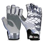 RUNCL Fingerless Gloves RAGUEL, Fishing Gloves, Sun Gloves - UPF 50+ Sun Protection, Microfiber-Tech Safeguard, Half-Finger Style, Breathable Ventilation - Kayaking, Cycling, Gardening (Gray, S/M)