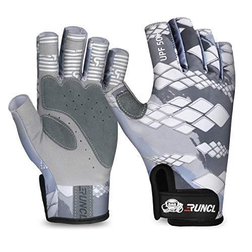 RUNCL Fingerless Gloves RAGUEL, Fishing Gloves, Sun Gloves - UPF 50+ Sun Protection, Microfiber-Tech Safeguard, Half-Finger Style, Breathable Ventilation - Kayaking, Cycling, Gardening (Gray, L/XL)