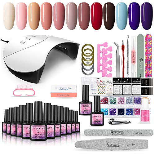 COSCELIA Gel Nail Starter Kit 36W UV/LED Nail Lamp Soak Off 12 Colours Gel Polish Starter Kit Nail...