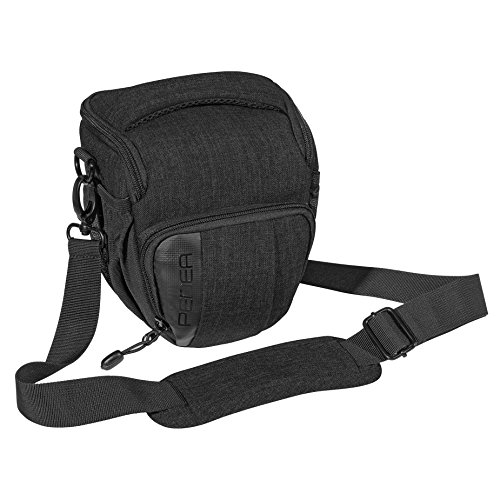 PEDEA DSLR-Kameratasche Fashion Fototasche für Spiegelreflexkameras mit wasserdichtem Regenschutz, Tragegurt und Zubehörfächern (Größe M, schwarz) …