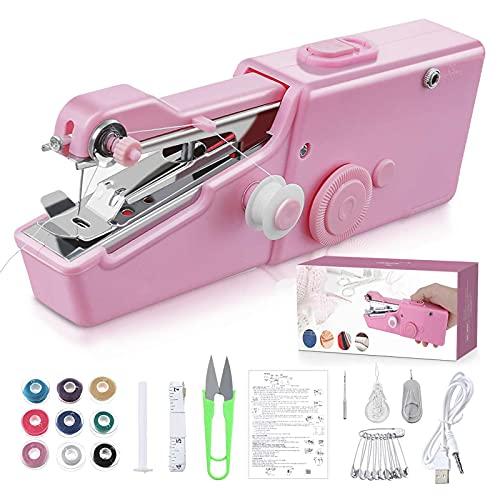 maquinas de coser Portátil, Mini Máquina de Coser Eléctrica Portátil para Principiantes, Fácil de Usar y Puntada Rápida Adecuada para Ropa, Telas, Cortinas, Bricolaje para Viajes en Casa