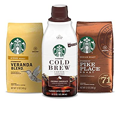 Starbucks Cold Brew Concentrate & Ground Coffee — Starbucks Blonde & Medium Roast — Limited Edition Variety Pack — 3 Pack