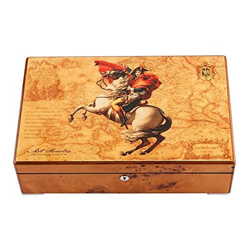 CDPC Caja de reloj de madera de pintura de piano, caja de almacenamiento de reloj mecánico con cerradura, caja de almacenamiento de reloj clásico/D
