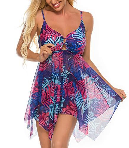 FINWANLO Womens Two Piece Swimsuits Tankini Top Set Mesh Swimdress Leaf Printed Swimwear with Boyshort Bathing Suits