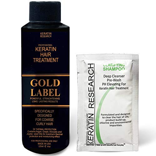 Gold Label 120ml Professional Results Brazilian Keratin Blowout Hair Treatment with 20ml Clarifying Shampoo Enhanced Specifically Designed for Coarse Curly Black African Dominican Brazilian Hair