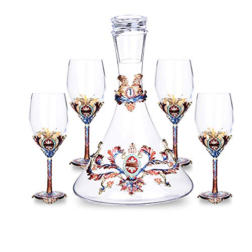 L-H-X Weingläser, High-End-Glas Rotwein Glas Dekanter Set Haushaltslicht Luxus Becher bleifrei Weinglas europäischen Wein Set Hardcover Geschenkbox Geschenkpräferenz L++ (Size : Goblet×4+Decanter)