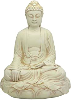 Buddha Groove Serene and Calm Meditating Buddha Statue Seated in Earth Touching Pose | Stone Finish | 11.5 Inches Tall