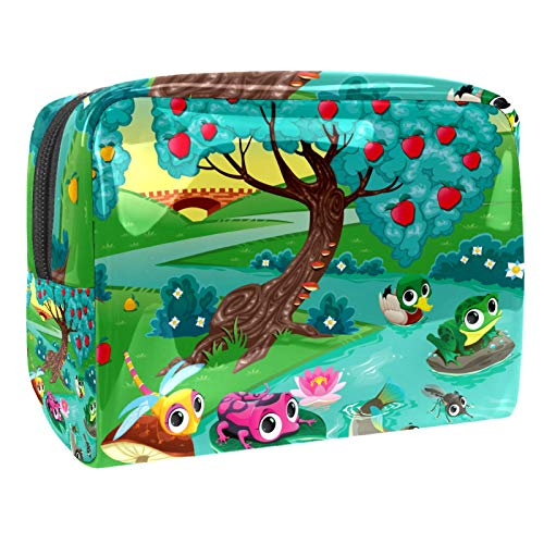 Cute Frog Dragonfly Duck Tree River Makeup Cosmetic Organizer for Women Girls Kids (7.3x3x5.1in/18.5x7.5x13cm) Makeup Bag/ Cosmetic Bag Travel Cosmetic Bags