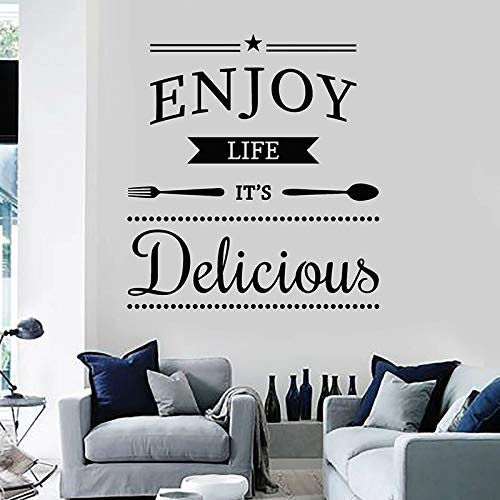 Disfruta de la vida deliciosas calcomanías de pared frases inspiradoras papel tapiz café cocina decoración del hogar ventana pegatinas de vinilo texto mural