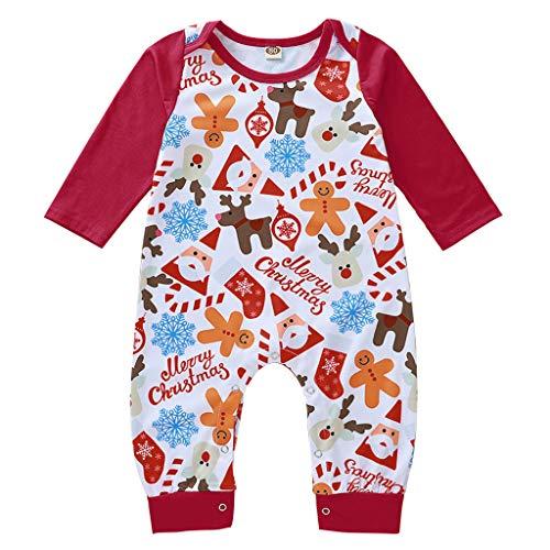 SomeTeam Neugeborenes Baby Mädchen Jungen Weihnachten Santa Cartoon Print Strampler Jumpsuit Baby Langarm Cartoon gedruckt Harness Jumpsuit