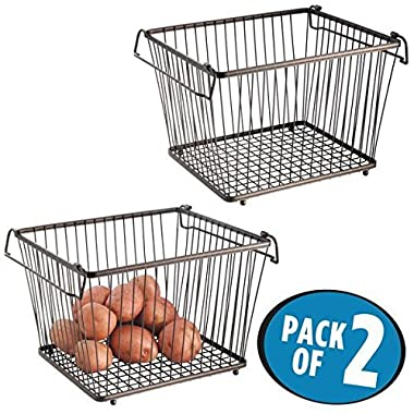 mDesign Household Stackable Wire Storage Organizer Bin Basket with Built-In Handles for Kitchen Cabinets, Pantry, Closets, Bedrooms, Bathrooms – Large, Pack of 2, Steel in Durable Bronze Finish