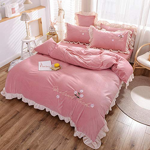 super king size duvet cover sets-Winter double-sided crystal velvet four-piece lace embroidery thick embroidered flannel bed sheet quilt cover pillowcase gift-K_1.8m bed (4 pieces)