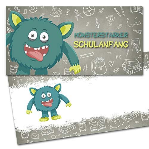 KREATIVES HERZ - Monster Einladungskarten zur Einschulung 10er Set Einladungen Schulanfang Karten 1.Schultag Kinder Schüler Mädchen und Jungen (10 Karten + 10 Umschläge)