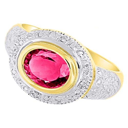 Diamond & Rose - Anillo de cuarzo chapado en oro amarillo plata o plata de ley chapada en oro blanco