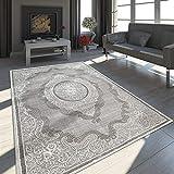 Paco Home Orient Teppich Modern 3D Effekt Meliert Schimmernd Ornamente Bordüre Grau Weiß,...
