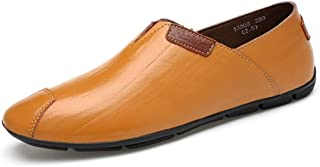 Yajie-Shoes, Penny Loafers Mens Shoes for Men Captoe Slip On Boat Moccasins PU Leather Elastic Bands Strong Antislip Outsole Hollow Optional Simple Stylish (Color : Orange, Size : 9 UK)