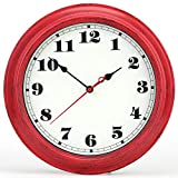 iMotion Wall Clock 12-Inch Decorated Dial Face Retro Wall Clock, Silent Non-Ticking Round Home Decor Wall Clock(red)