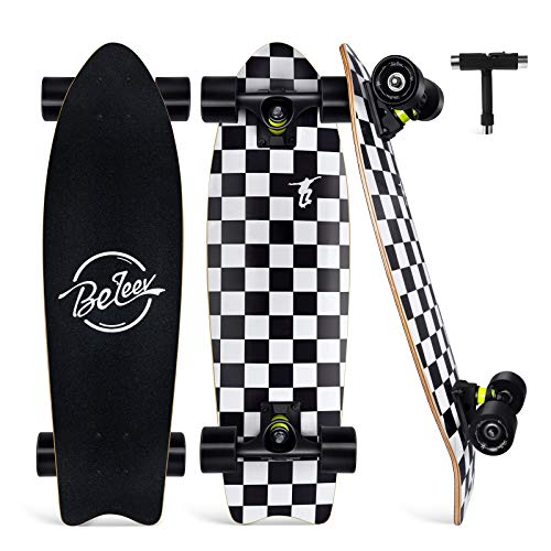 Beleev Cruiser Skateboards for Beginners, 27 Inch Complete Skateboard for Kids Teens Adults, 7 Layer Canadian Maple Double Kick Deck Concave Trick Skateboard (Black)