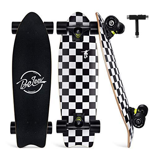 BELEEV Cruiser Skateboard for Beginners, 27'x8' Complete Skateboard for Kids Teens & Adult