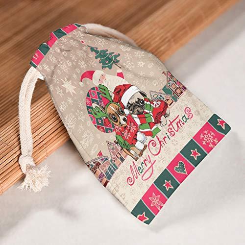 O2ECH-8 12-delig pakket voor 12 organiseren drawstrings trekkoord tas stof -proof candy pouch bag gebruikt voor Kerstmis bruiloft geschenken wrap bags - gedrukt met patroon 12 * 18cm wit