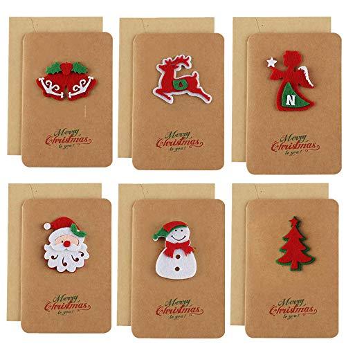 Jsdoin Paquete de 6 tarjetas de felicitación de Navidad, Papel Kraft con Sobres, Tarjeta de Regalo de Papá Noel árbol de Navidad, Regalo de Año Nuevo