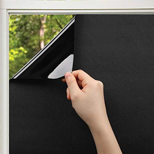 KINLO schwarze Fensterfolie 90 x 200 cm Sichtschutzfolie 100% Blickdicht Spiegelfolie selbstklebend Verdunkelungsfolie Anti-UV Fenster Klebefolie für Schlafzimmer Badezimmer Dachfenster Auto