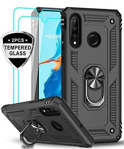 LeYi für Huawei P30 Lite Hülle P30 Lite New Edition Handyhülle mit Panzerglas Schutzfolie(2 Stück),360 Grad Ring Halter Handy Hüllen TPU Cover Bumper Case Schutzhülle für Huawei P30 Lite 2020 Schwarz