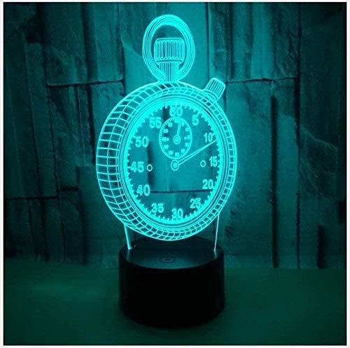 YGQersh Luz de la noche lámpara nuevo reloj 3D noche luz táctil interruptor 3D gradiente colorido táctil alarma 3D noche luz-N17