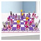 FEANG Tablero Ajedrez de muñecas tridimensionales de Madera, Juguetes para Principiantes de niños de Juguete de ajedrez, cumpleaños, Navidad y año Nuevo Regalos Ajedrez y Damas (Color : Pink)