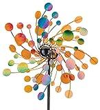 Metallwindrad - Kinetic Spinner 48cm - Confetti - Abmessung: Ø48cm Gesamthöhe: 175cm - wetterfest, pulverbeschichtet, lackiert - 3-teilig, verschraubbar - inkl. 3-zackiger Bodenverankerung