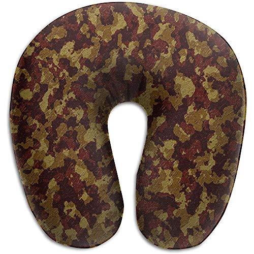 U-Förmiges Nackenhörnchen,Camouflage Disguise Spots Forest Texture U-Förmiges Nackenkissen Reisekissen Memory Foam Waschbar Für Lange Trips Kurze Pausen