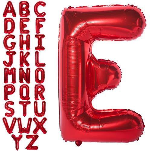 Letter Balloons 40 Inch Giant Jumbo Helium Foil Mylar for Party Decorations (Red E)