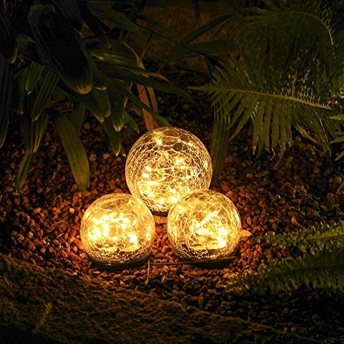 Garden Solar Lights Pathway Outdoor Cracked Glass Ball Waterproof Warm White LED for Walkway Patio Yard Lawn 394