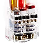 LUGUNU Acrylic Makeup Organizer Spinning Lipstick/Pressed Powder Pallet Organizers Sided Brushes Stand With Drawer Clear Cosmetic Storage Display Box For Tabletop B1 Clear