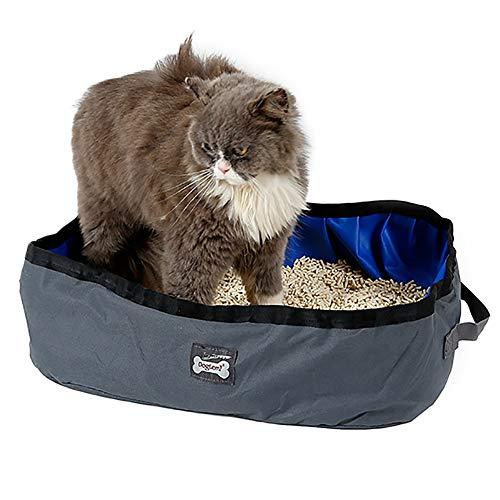 TFENG Faltbar Katzentoilette, tragbare wasserdichte Katze Wurf Kasten, 46 x 35 x 14cm katzenklo für Reisen, Outdoor, Camping (Grau)