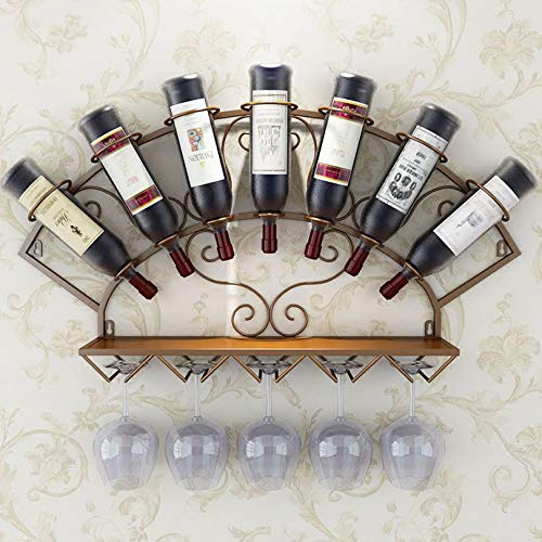 Soporte para botellero de vino, 7 botellas de vino, estilo retro europeo, de hierro, para colgar en la pared, soporte para vino, decoración de bar, color marrón