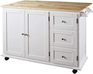 Signature Design By Ashley - Withurst Kitchen Cart with Cabinet - Casual Style - White/Brown