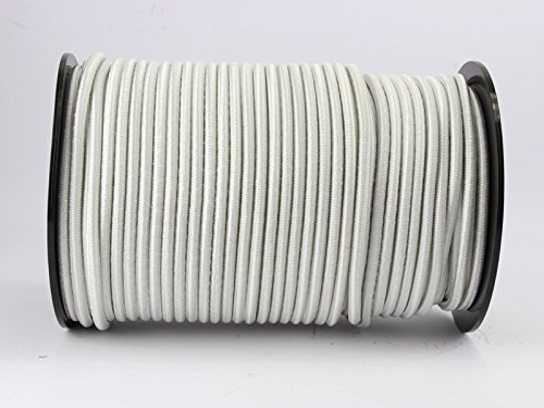 Corda elastica da 10 m, 6 mm, bianca, in gomma, per teloni, corda elastica
