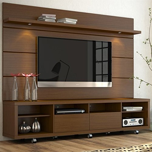 Manhattan Comforts Cabrini Stand and Floating Wall TV Panel 2.2, 85.8Lx17.5Wx73H, Nut Brown