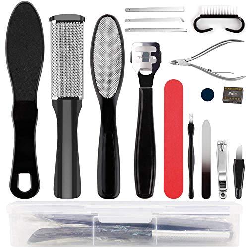 MaLife Kit de herramientas de pedicura profesional para cuidado de los pies, kit de pedicura de acero inoxidable, lima de pies, espátula para eliminar callos de piel muerta con lima de uñas