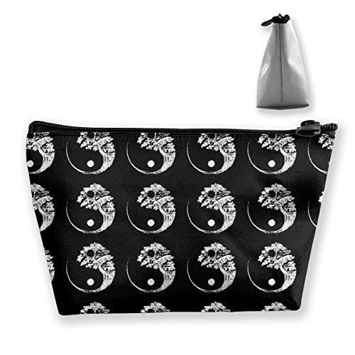 Yin Yang Bonsai Tree Negro Maquillaje Neceser de baño Organizador de cosméticos de viaje Impermeable Multiuso Trapezoidal Almacenamiento Tote Herramientas de maquillaje Bolsa Cosmética Bolsas de maqui