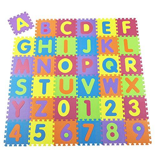 Juskys Kinder Puzzlematte Kim 36 Teile mit Buchstaben A-Z & Zahlen 0-9 - rutschfest & abwischbar Puzzle ab 10 Monate - Eva Schaumstoff - Spielmatte